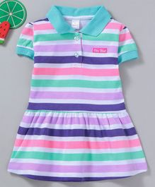 Olio Kids Short Sleeves Stripe Frock - Multicolour Blue