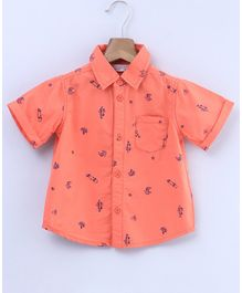 Beebay Skateboard Print Half Sleeves Shirt - Orange