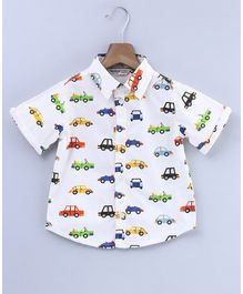Beebay Car Print Half Sleeves Shirt - White