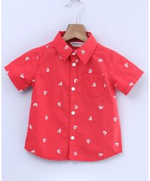 Beebay Sailboat Print Half Sleeves Shirt - Red