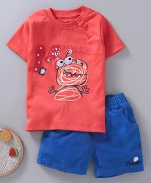 NOQ NOQ Monster Print Half Sleeves Tee & Shorts Set - Orange