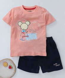 NOQ NOQ Rat Print Half Sleeves Tee & Shorts Set - Orange
