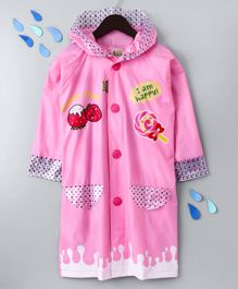 Full Sleeves Hooded Raincoat Sweet Day Print
