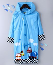 Full Sleeves Hooded Raincoat With Pouch Vehicle Print - Blue