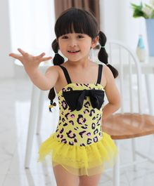 Unicorns Leopard Print With Bow Sleeveless Swimsuit - Yellow