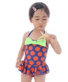 Unicorns Polka Dot Print Sleeveless Bow Swimsuit - Blue