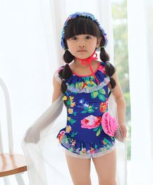 Unicorns Floral Print With Corsage Sleeveless Swimsuit With Cap - Blue