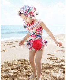 Unicorns Floral Print With Corsage Sleeveless Swimsuit With Cap - Red