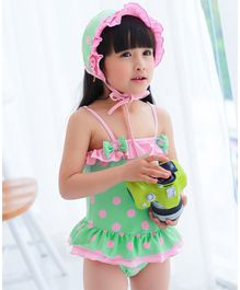 Unicorns Polka Dot Print Sleeveless Ruffled Swimsuit With Cap - Green