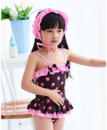 Unicorns Polka Dot Print Sleeveless Ruffled Swimsuit With Cap - Brown