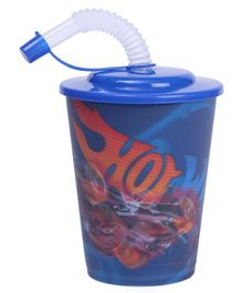 Hot Wheels 3D Plastic Cup With Straw & Lid Blue - 400 ml