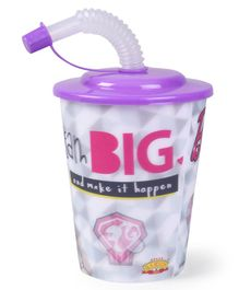 Barbie 3D Small Plastic Cup With Straw & Lid Purple - 400 ml