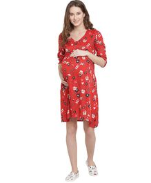 Mine4Nine Flower Printed Three Fourth Sleeves Maxi Maternity Dress - Red