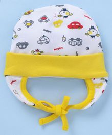 5993ef6f5fe Babyhug Cotton Bonnet Cap Car Print - White Yellow