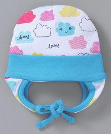 09b90852e2f Babyhug Cotton Bonnet Cap Cloud Print - White Blue