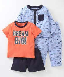 Babyoye Cloud Printed Cotton Night Suit Combo Pack of 2 - Blue