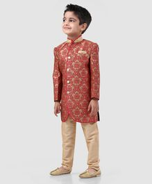 Babyhug Full Sleeves Self Design Sherwani - Red