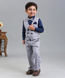 Babyhug 3 Piece Full Sleeves Party Wear Suit - Navy Blue