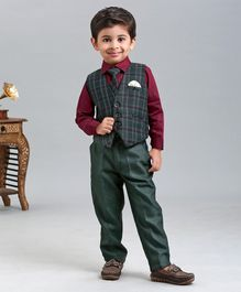 Babyhug 3 Piece Full Sleeves Party Suit With Tie - Green & Maroon