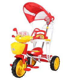 HLX-NMC Space Ship Tricycle Cum Rocker With Navigator & Canopy - Red & Yellow