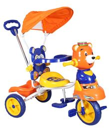 HLX-NMC Happy Teddy Tricycle With Canopy - Blue & Orange