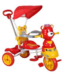HLX-NMC Happy Teddy Tricycle With Canopy - Red & Yellow