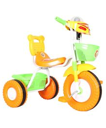EZ' Playmates Bike Style Tricycle With Front & Rear Basket - Yellow Green