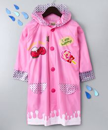 Full Sleeves Hooded Raincoat Sweet Day Print - Pink