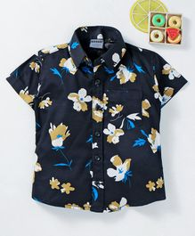 Rikidoos Half Sleeves Flower Print Shirt - Black