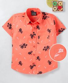 Rikidoos Flower Print Half Sleeves Shirt - Orange