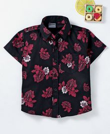 Rikidoos Flower Print Half Sleeves Shirt - Black