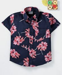 Rikidoos Half Sleeves Floral Printed Shirt - Navy Blue