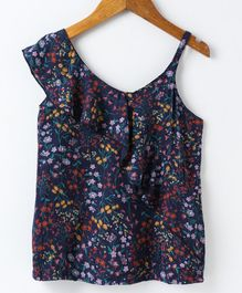Pikaboo Flower Printed Sleeveless Top - Navy Blue