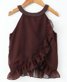 Pikaboo Solid Ruffled Sleeveless Top - Brown