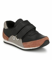 Tuskey Double Velcro Closure Colour Block Casual Shoes - Black