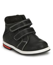 Tuskey Double Velcro Closure High Ankle Shoes - Black