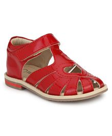 Tuskey Velcro Closure Heart Cut Out Sandals - Red
