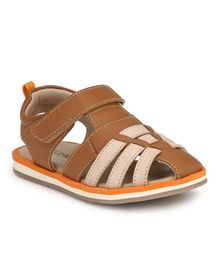 Tuskey Colour Block Velcro Closure Sandals - Brown