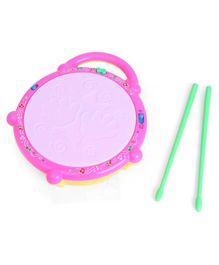 Flash Drum Toy With Playing Sticks - Pink Yellow