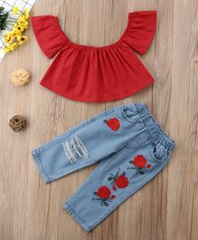 Awabox Short Sleeves Top & Flower Embroidered Bottom Set - Red