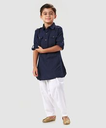 26d9e6df867 Babyhug Full Sleeves Pathani Kurta With Pyjama - Navy Blue