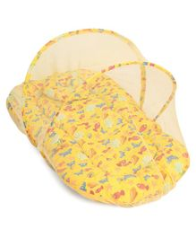 Morisons Baby Dreams Mattress Set With Mosquito Net Carb Print - Yellow