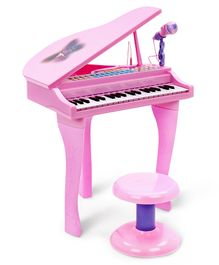 Electronic Piano Toy With Microphone & Stool - Pink