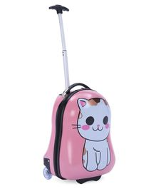 Baby Luggage Trolley Bag Cat Print Pink - 18.5 inches