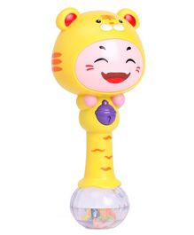 Tiger Face Single Stick Musical Rattle Toy - Yellow