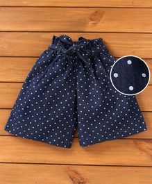 UCB Elasticated Waist Culotte Polka Dots Print - Navy Blue
