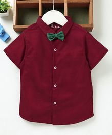 GJ Baby Half Sleeves Shirt With Bowtie - Maroon