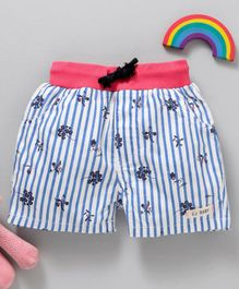GJ Baby Striped Shorts Floral Print With Elasticated Waist - Blue