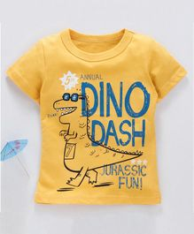 Kookie Kids Half Sleeves Tee Dinosaur Print - Yellow