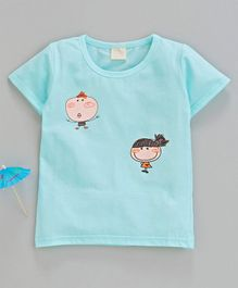 Kookie Kids Half Sleeves Tee Cartoon Print - Sky Blue